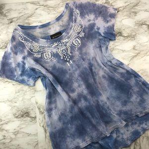 Inc Blue Mesh Tie Dye Bleached Beaded Top 0X XL
